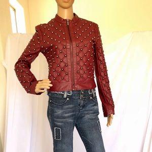 Leather burgundy absolutely never worn Bebe jacket